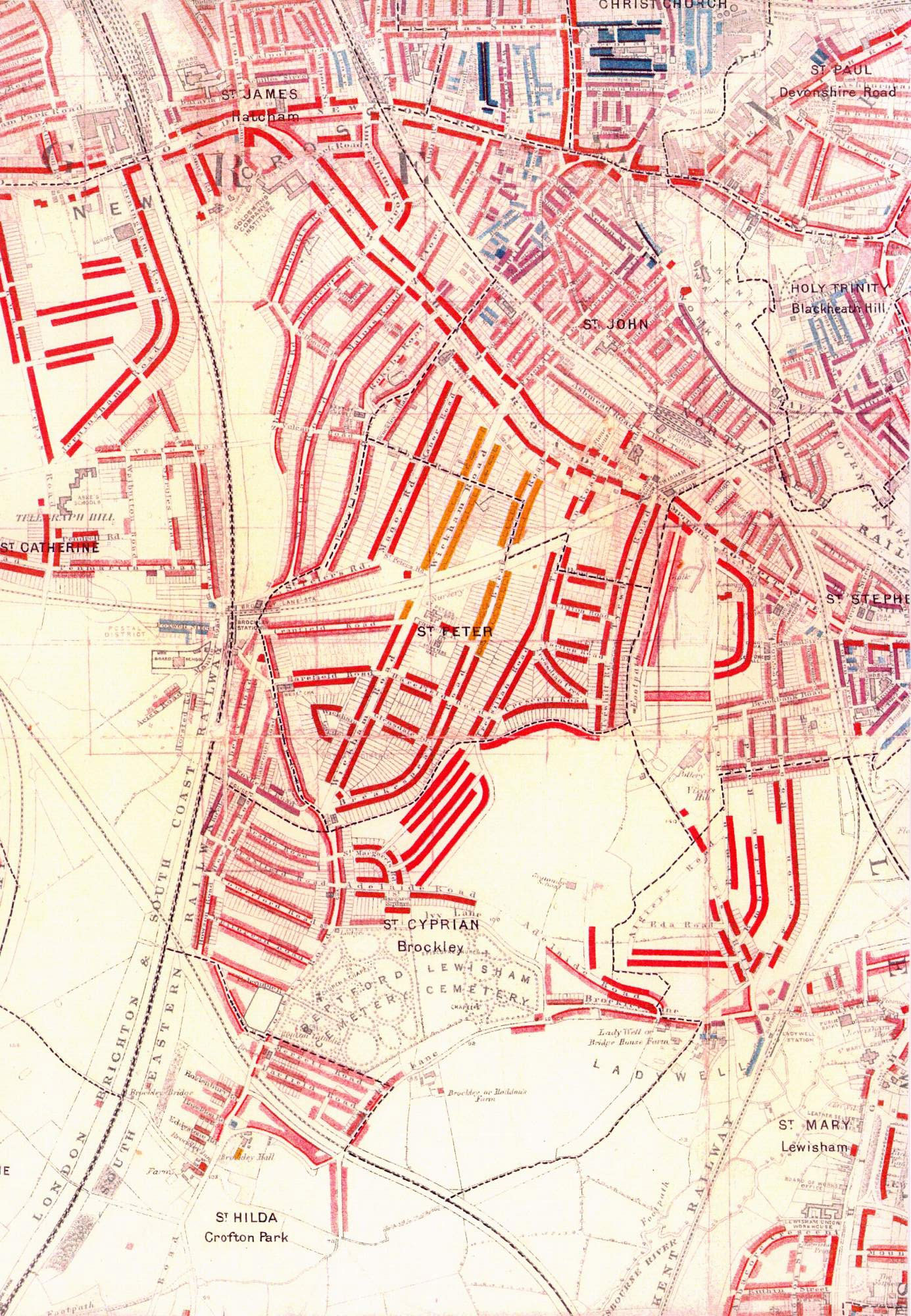 Map Of London 1900.Map Of London Poverty Brockley 1890 Ideal Homes