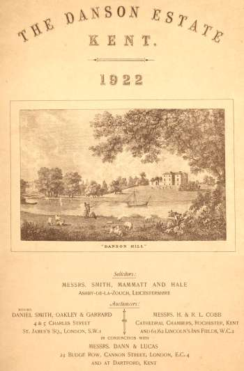 Danson Estate Catalogue Cover, 1922