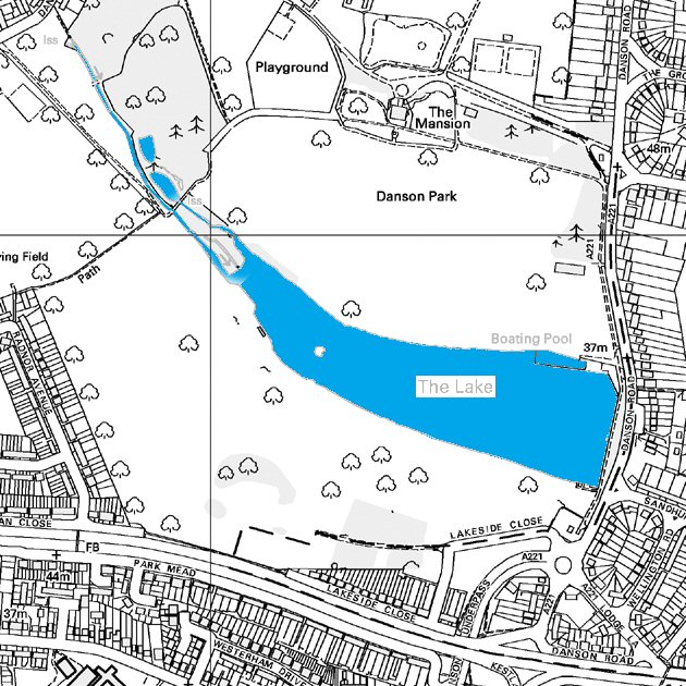 Map of Danson Park Lake - click for smaller image