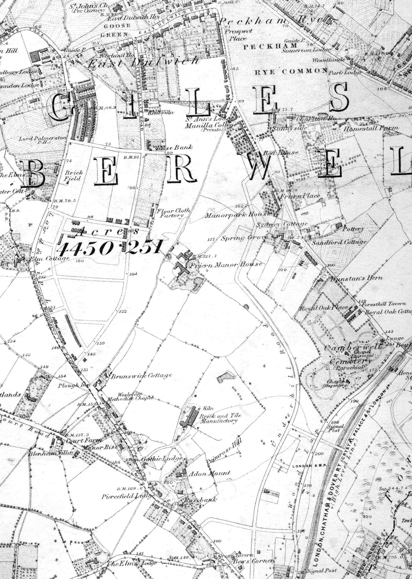 Map Of East Dulwich Lewisham 1871
