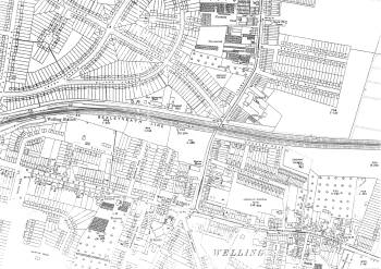 Map of Welling and East Wickham, Bexley, 1933