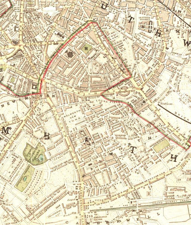 Map Of Walworth Lewisham 1846