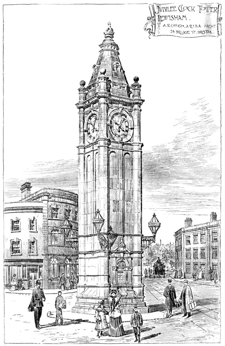 Clock Tower  Lewisham High Street  Lewisham  c 1900London Clock Tower Drawing
