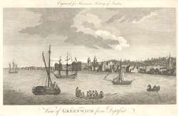 A view of Greenwich from the river, 18th Century - click