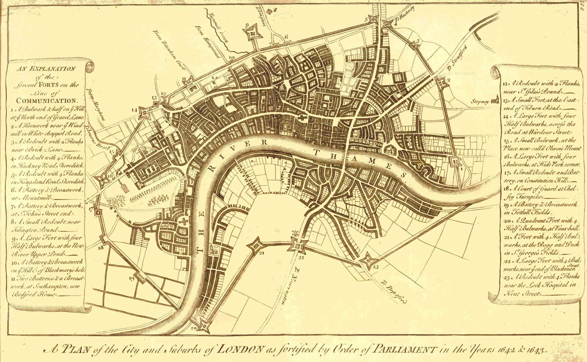 London And Suburbs Map.Map Of The Fortification Of London And Suburbs C 1700